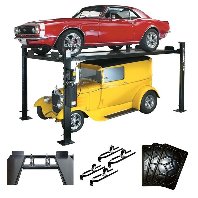 Dannmar d 7 hobbyist four post storage lift with kit for Garage auto 7